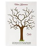 Fingerabdruckbaum Kommunion 009 Leinwand Gästebuch Partyspiel Erinnerungsbild Geschenk Familienfeier wedding tree (30x40cm - rot)