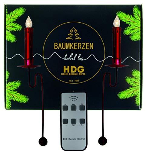 Baumkerzen kabellos - 6er Set LED Kerzen mit Balancehalter rot, Kerzenhalter im Set:Kerzenhalter mit Baumkerzen in rot