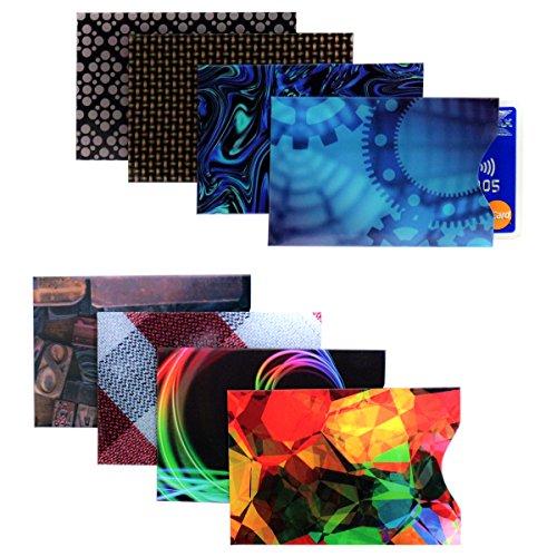 Pack von 8 Karten Protector Sleeves - RFID Blockierende Schutzhüllen Thin Travel Sicherheit Wallet & Geldbörse Slips für Betrugsprävention - Beste für Identitätsdiebstahl für Kreditkartenschutzhüllen Kreditkarte Binder
