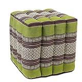 Oriental Galerie Sitzwürfel Stoffhocker Sitzkissen Bodenkissen Sitzhocker Fußhocker Cube Hocker Würfel Thai Motiv 40 x 40 x 40 cm Baumwolle Kapok, Farbe:Grün