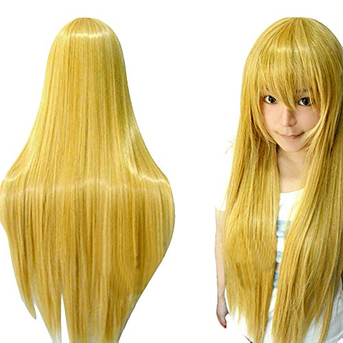 Peluca amarilla muy larga para mujer
