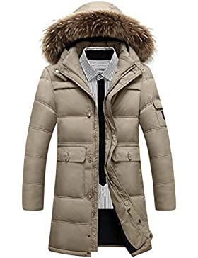Zhuhaitf Winter Mens Long Down Jackets Outerwear Hooded Thicken Warm Fur Collar Coats