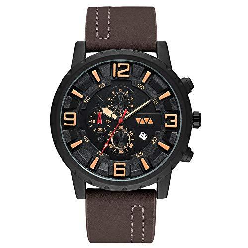 GAO Schwarz/braun wasserdicht Herren Sport Quarzuhr großes Zifferblatt mit Kalender Peeling Strap Herren Business Casual Watch cool (Farbe : Brown)