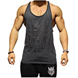 Gym King Stringer Tank Top Bodybuilding Tank The Steel made me what i am, Gymking (M, Charcoal)