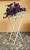 Blumenhocker Beistelltisch Weiß Eckig Hocker Pflanzenhocker Metall Vintage Shabby-Chic
