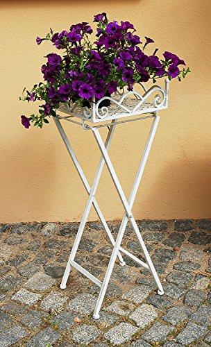 Little More Tabouret Table d'appoint Blanc Fleurs carrés Tabouret Plante Métal Vintage Shabby Chic