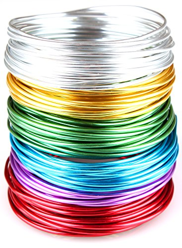 Creacraft Aluminium Schmuckdraht-Set Basic 6 Farben, 30m x (5m je Farbe) (3 mm)