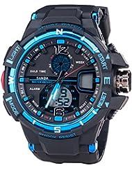 Al Aire Libre Deporte Multifunción Hora Dual Alarma Calendario Luminosa Reloj Electrónico De Los Hombres,Azul