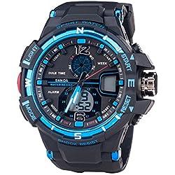 Draussen Sportuhr Multifunktionale Dualzeit Alarm Kalender Leuchtuhr Elektronische Uhr Für Herren, Blau