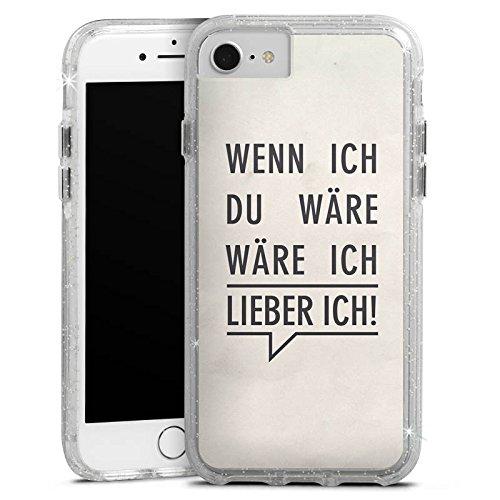 Apple iPhone 8 Bumper Hülle Bumper Case Glitzer Hülle Sprüche Phrases Sayings Bumper Case Glitzer silber