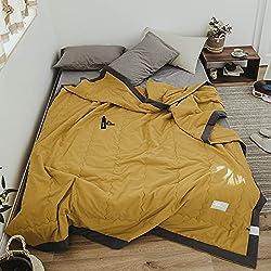 ZZ Nordic Simple Style Klimaanlage war Sommer cool war Baumwolle Doppel Sommer dünne Decke einfarbig Einzel-Schlafsaal Baumwolle Sommer,Senfgelb,200 * 230