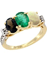 14 ct Gelb Gold Natural Smoky Topaz, smaragd & Opal Ring Ehering Oval 7 x 5 mm Diamant Accent, Größe S