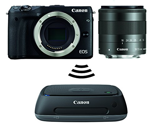 Canon EOS M3 Systemkamera (24 Megapixel APS-C CMOS-Sensor, WiFi, NFC, Full-HD) Kit inkl. EF-M 18-55 mm IS STM Objektiv schwarz plus Connect Station CS100