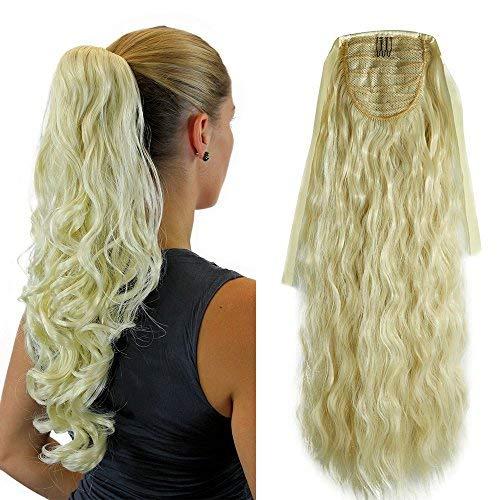 Ponytail Clip in Pferdeschwanz Zopf Extension Haarteil Haarverlängerung Hair Piece Corn Wavy gewellt wie Echthaar Gebleichtes Blond-1 21
