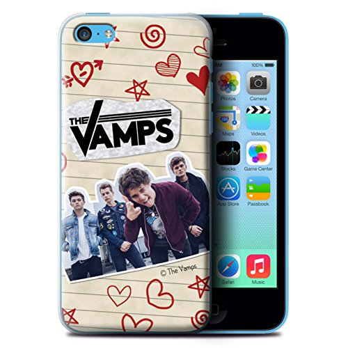 Offiziell The Vamps Hülle / Case für Apple iPhone 5C / Pack 5Pcs Muster / The Vamps Doodle Buch Kollektion Rot Stift
