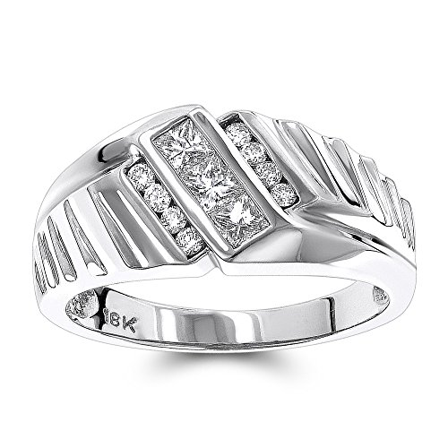 White Gold Cut Herren-ring Princess (Luxurman 18K Men Round & Princess Cut Natural Diamond Ring (White Gold Size 8))
