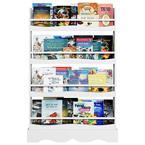 Homfa Bücherregal für Kinder Regal Wandregal Kinderzimmer Kinderregal Aufbewahrungsregal 80 * 11.5 * 118cm weiß - Weiß Kinder Für Bücherregal