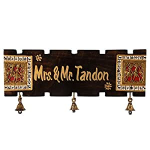 Unravel India Customized Dhokra and Warli Handpainted Wooden Name Plate