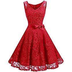 Dressystar DS0010 Robe Femme soirée/Demoiselle d'honneur/Bal Col en V sans Manches Dentelle avec Une Ceinture Rouge XXL