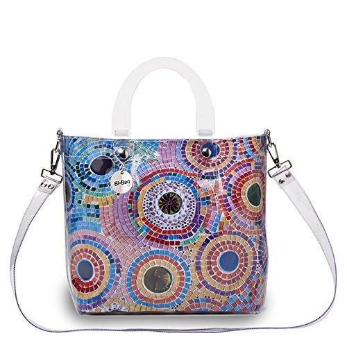 """BI-BAG borsa donna modello DAILY """"SUMMER COLLECTION"""" + pochette Multicolore Con Pietre A Cerchio"""
