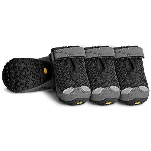 (Ruffwear Gelände-Hunde-Schuhe (4er Set), Mittelgroße Hunderassen, Größe: 64 mm, Schwarz, Grip Trex)