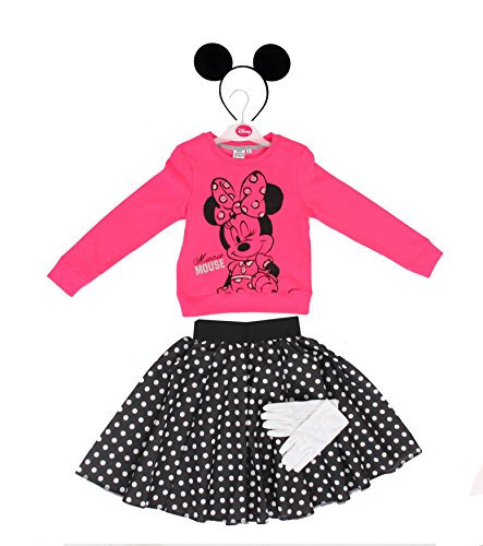MINNIE MAUS MICKEY MOUSE POLKA DOT KOSTÜM VERKLEIDUNG = ORIGENAL LIZENSIRTES DISNEY OBERTEIL=MÄUSE OHREN AN HAARBAND+HANDSCHUHE+POLKA DOT ROCK= ROSA-OBERTEIL-SMALL+SCHWARZER POLKA DOT/WEISSE PUNKTE (Polka Dot Minnie Rock Mouse)