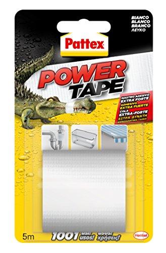 Pattex Power Tape, cinta multiusos ultraresistente, corte fácil, blanco, 5m
