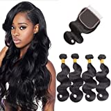 Brazilian Virgin Hair Body wave 4 Bundles with Closure Free Part 4x4 Unprocessed Brazilian Hair Bundles with Closure Natural Black Colour (16 18 20 22+16 inches)