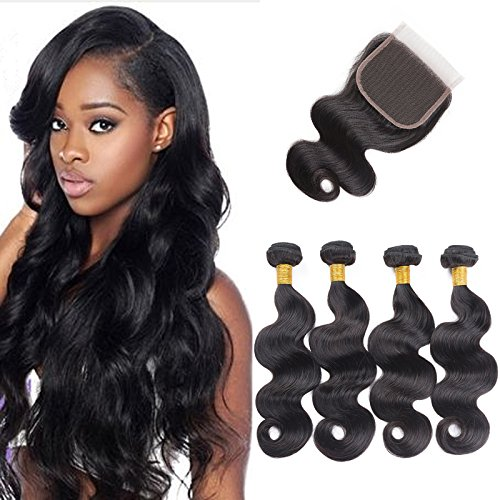 Human Extensions (Brazilian Virgin Human Hair Body Wave 4 Bundles Hair Extensions 4 x 4 Lace Closure Machined Natural Black Color Human Hair Extensions (10 12 14 16+10))