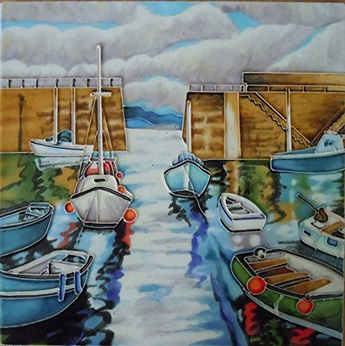 Seaside Ceramic ('Harbour Morning' 8x8, by J. Yates Decorative Ceramic Tile by Fiesta Studios)