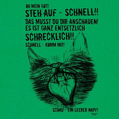 Ein leerer Napf - Katzenmotiv :: Lustiges Sprüche Fun T-Shirt mit Tiermotiv für Herren :: Geschenkidee für Ihn Geschenk für Katzenliebhaber Katzenfans Farbe: hellgrün Hellgrün