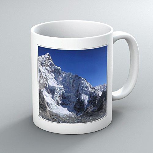 Mount Everest Mountain No.2 motivo stampato, Tazza, 11 oz, motivo: Chunky-Tazza in ceramica, immagine stampata su entrambi i lati, colore: bianco, ideali come regalo, unico Art-Tazza con beccuccio, per la stampa, foto, disegni, per casa, ufficio, a lavoro, da uomo, da donna