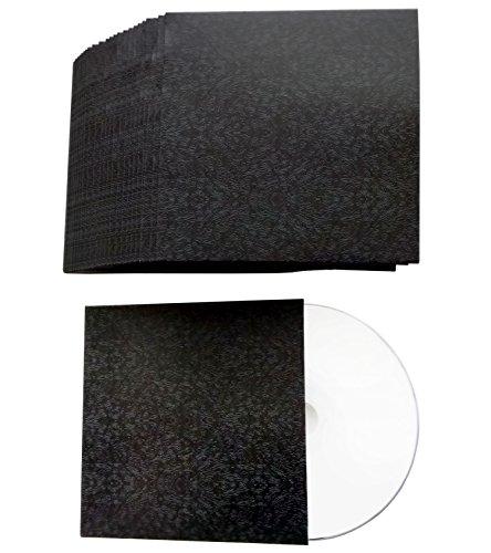 CD Hüllen aus Karton in Design Schwarz-Abstrakt bedruckt, CD Kartonstecktaschen (Papphüllen) für je 1 CD/DVD/Blu-ray Rohling 50er Pack - Made in Germany