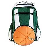 Diapolo Professionale Rucksack Basketball Funktionrucksack Tasche Sporttasche (Grün-Weiß)