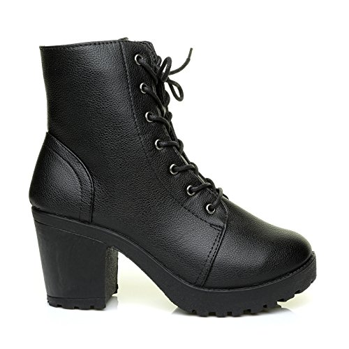 dock-black-pu-leather-cleated-sole-lace-up-ankle-boots-size-uk-3-eu-36