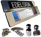 PRESKIN 2x 400 mm EDELSTAHL Kurz Kennzeichen Halter B-WARE V2A Nummernschildhalter 40 cm