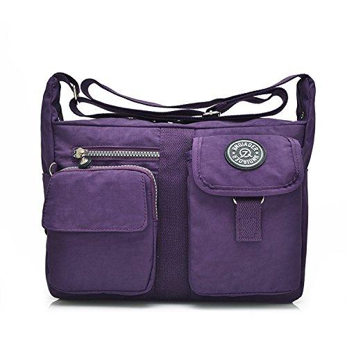 Outreo Messenger Bag Designer Umhängetasche Mädchen Taschen Schultertasche Handtasche Wasserdichte Kuriertasche Damen Sporttasche Reisetasche für Strandtasche Nylon Lila