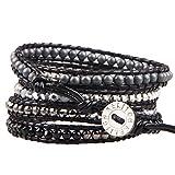 KELITCH Mix Perlen mit Metall Perlen Armband aus Leder 5 Wicklen Armband Handmade Neu Top Schmuck (Silver)