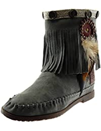 f45834150fc23 Angkorly Chaussure Mode Bottine Botte Bottes Indiennes Folk Slip-on Femme  Frange Plume Clouté Talon