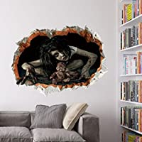 Halloween Sticker ,Janly® 3D Vision Broken Wall Stickers Scary Ghost Poster Home Decorative Removable Waterproof Festival Party Horror Stickers (C)