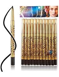 Davidsonne 12pcs Black Leopard Eyebrow Plastic Glitters Eyeliner Pencil Pen Cosmetic Makeup Pen
