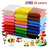 24 Colors Air Dry Clay, Ultra Light Modeling Clay, QMay Magic Clay Artist Studio Toy, NoToxic Modeling Clay & Dough, Creative Art DIY Crafts, Gift for Kids