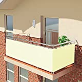 BALCONIO PREMIUM Balkonbespannung - 500 x 85 cm - CREME - wasserabweisend
