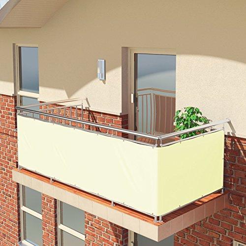 BALCONIO Premium Balkonbespannung - 450 x 85 cm - Creme - wasserabweisend