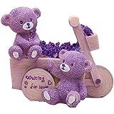 Bobury Bear Car Piggy Bank Lavender Coche de Oso Resina de Mobiliario Animal Caja de Dinero