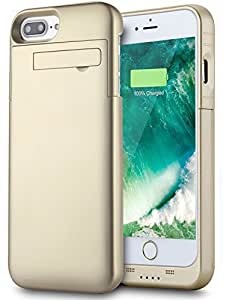 iPhone 8 Plus/7 Plus Battery Case [With Kickstand], PEMOTech 4000mAh iPhone Portable Charger Case Slim Rechargeable Extended Charging Case For iPhone 8 Plus/ 7 Plus/ 6 Plus/ 6s Plus 5.5 Inch (GOLD)