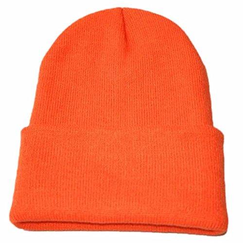 URSING Unisex Jungen Mädchen Slouchy Stricken Mütze Hüfte Hopfen Kappe Klassisch Warm Winter Ski Hut super süß Weich Strickmütze Einfarbig Modisch hochwertige Badymütze (Orange) -