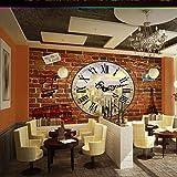 Kuamai Personnalisé Européen Rétro Style Industriel Horloge Stéréo Barre Café Fond Brique Fond D'Écran 3D Gratuit-208X146Cm