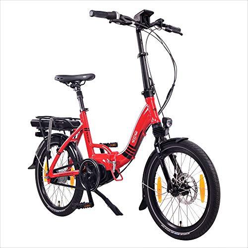 """NCM Paris MAX N8C E-Bike, E-Faltrad, 250W, 36V 14Ah 504Wh Akku, 20"""" Zoll, weiß, schwarz, rot (Rot mit Rücktrittbramse (N8C))"""