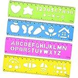 Promobo Set Set 4Regeln mit Schablone Kinder Alphabet Tiere Transport Zahl